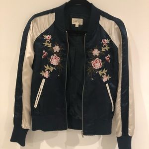 Navy and White Floral Nordstrom Bomber